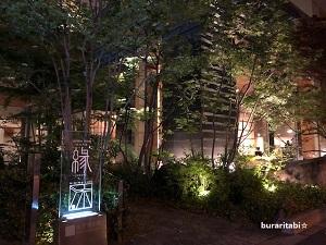 ライトアップされた木々と看板