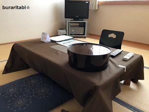テーブルと茶器類